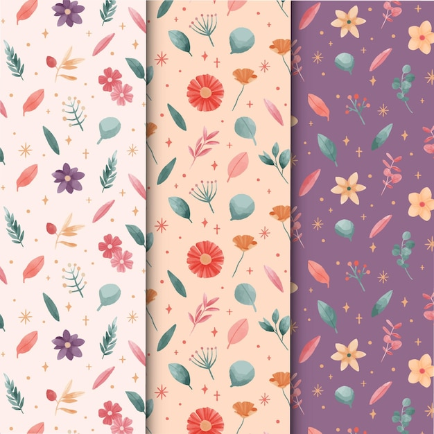 Watercolor spring pattern collection Free Vector