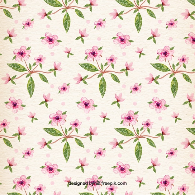 Watercolor spring pattern Free Vector