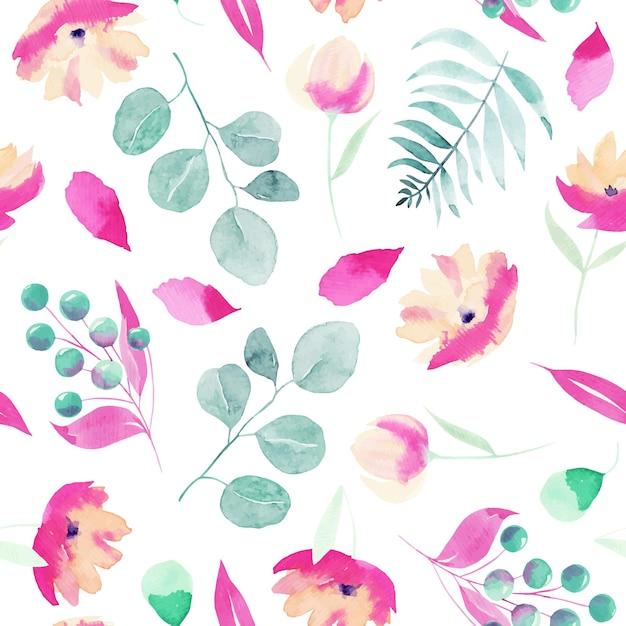 水彩の春のピンクの野花、ベリー、ユーカリの枝と葉のシームレスなパターン Premiumベクター
