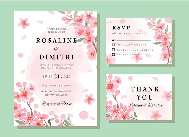 Watercolor spring sakura floral invitation card template set Premium Vector