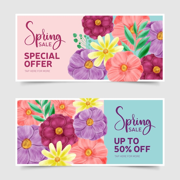 Watercolor spring sale banner collection concept Free Vector