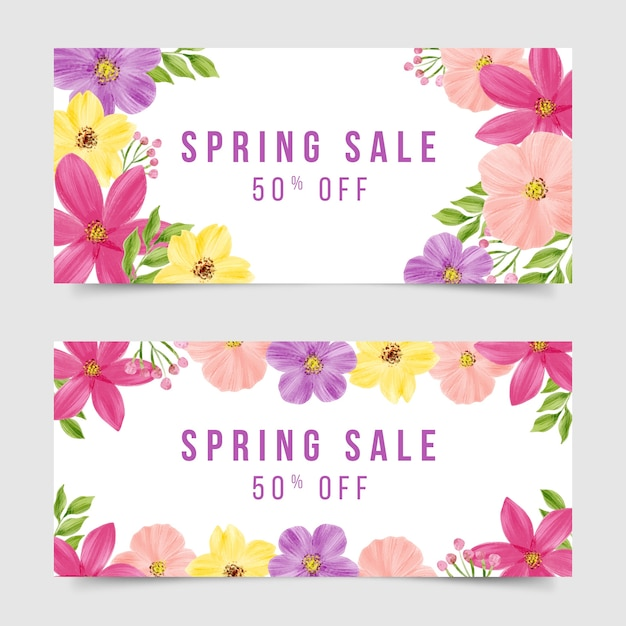 Watercolor spring sale banner collection theme Free Vector