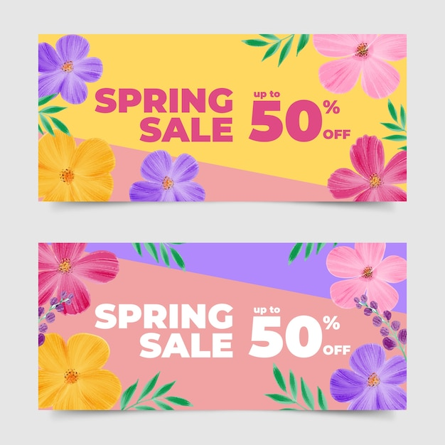 Watercolor spring sale banner collection Free Vector