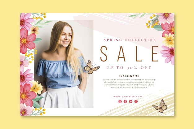 Watercolor spring sale banner template Free Vector