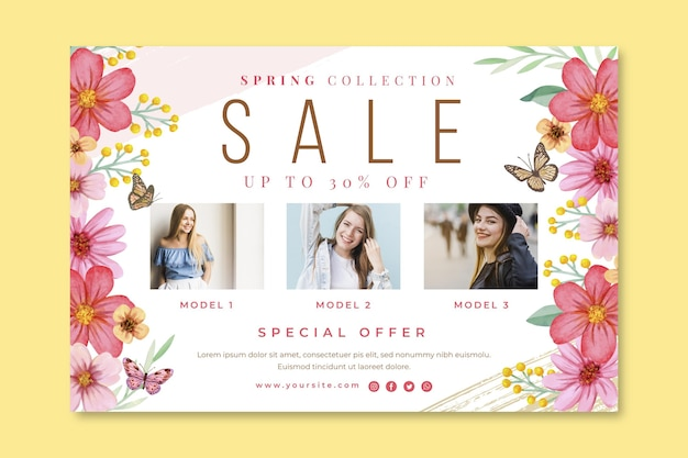 Watercolor spring sale banner Free Vector