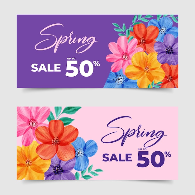 Watercolor spring sale banners concept Free Vector