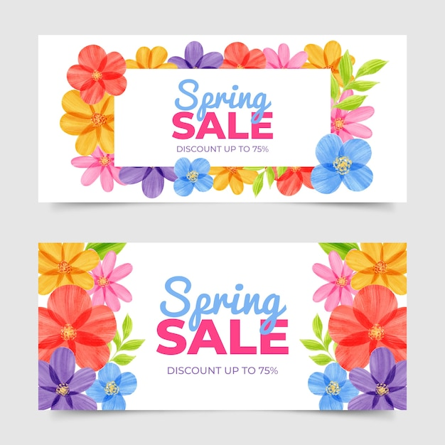 Watercolor spring sale banners design Free Vector