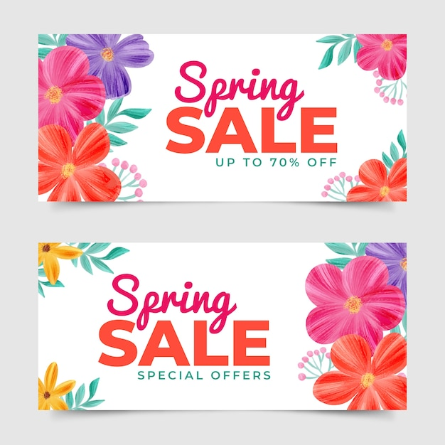 Watercolor spring sale banners theme Free Vector