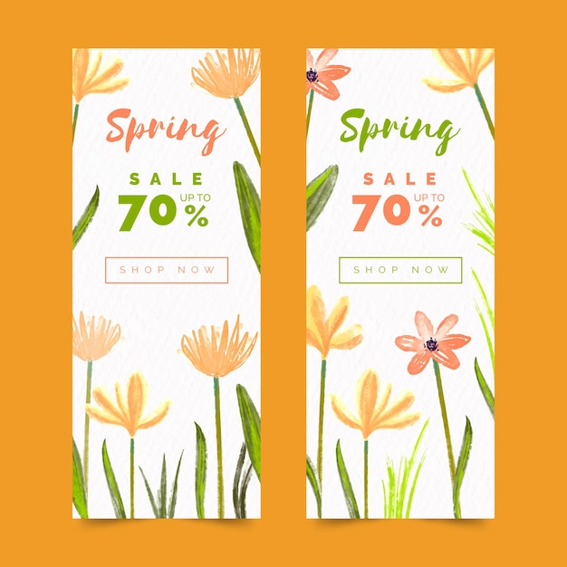 Watercolor spring sale banners with discount Free Vector