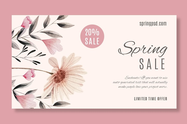 Watercolor spring sale horizontal banner template Free Vector