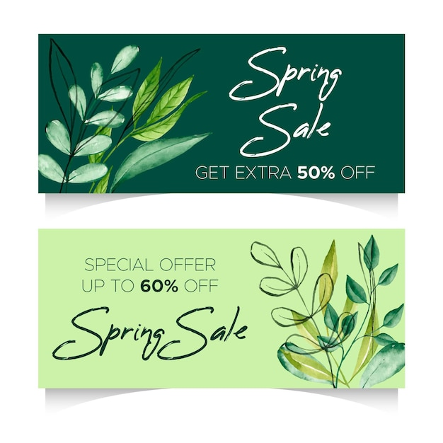 Watercolor spring sale horizontal banners with discounts Free Vector