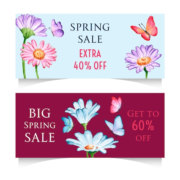 Watercolor spring sale horizontal banners Free Vector