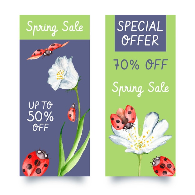 Watercolor spring sale vertical banners with discounts Free Vector