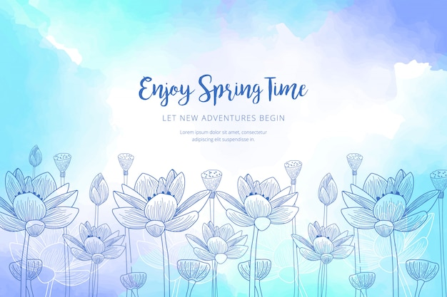 Watercolor spring template Free Vector