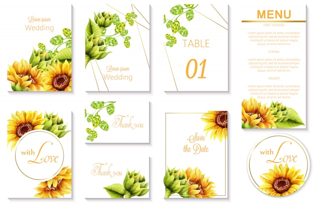 Watercolor spring wedding event invitation cards with green artichoke and sunflower Free Vector