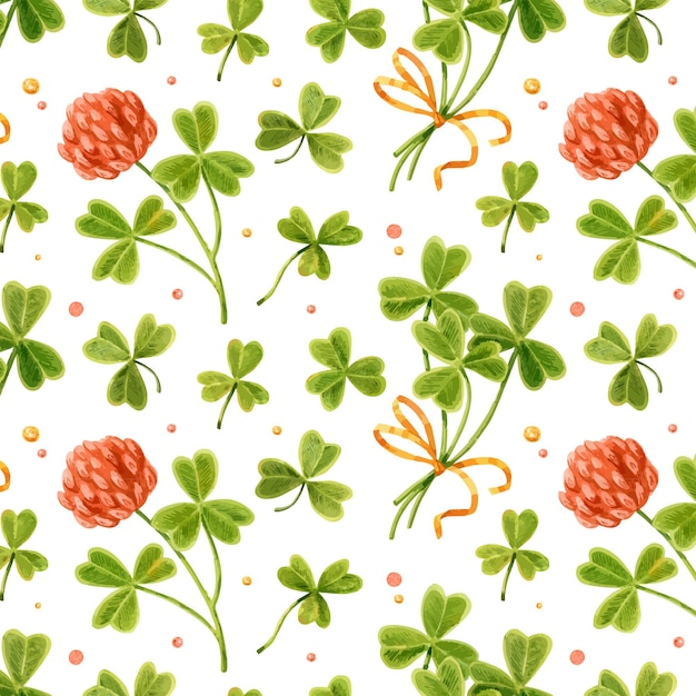 Watercolor st. patrick seamless pattern with shamrock. Premium Vector