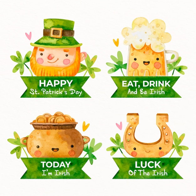 Watercolor st. patricks day label collection Free Vector