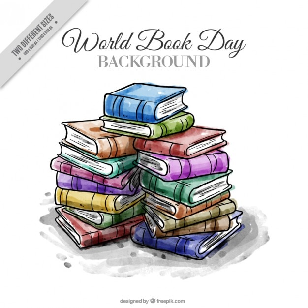 Watercolor stacked books background Free Vector