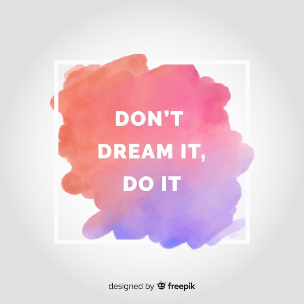 Watercolor stain background with quote Free Vector