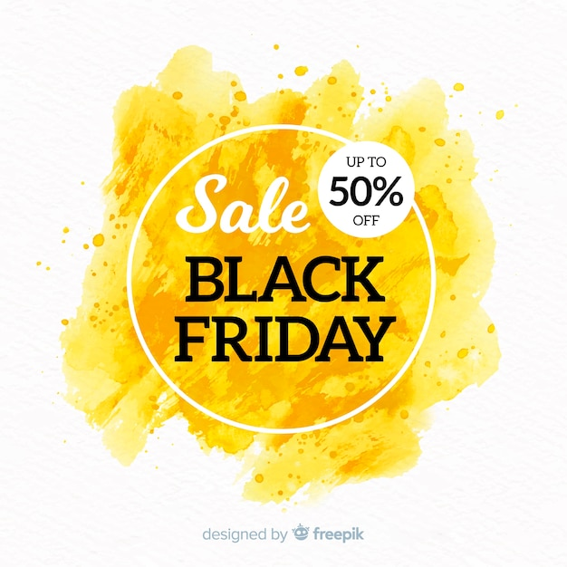 Watercolor stain black friday banner yellow Free Vector