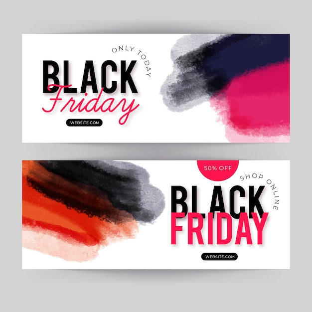 Watercolor stain black friday banners set Free Vector