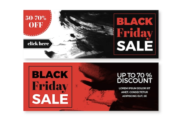 Watercolor stain black friday banners template Free Vector