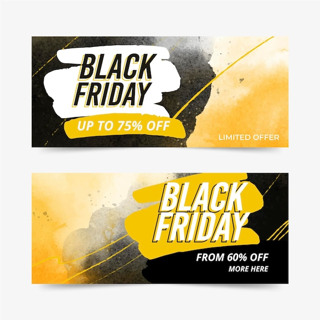 Watercolor stain black friday banners Free Vector