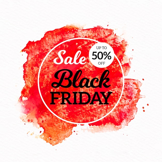 Watercolor stain black friday sale banner Free Vector