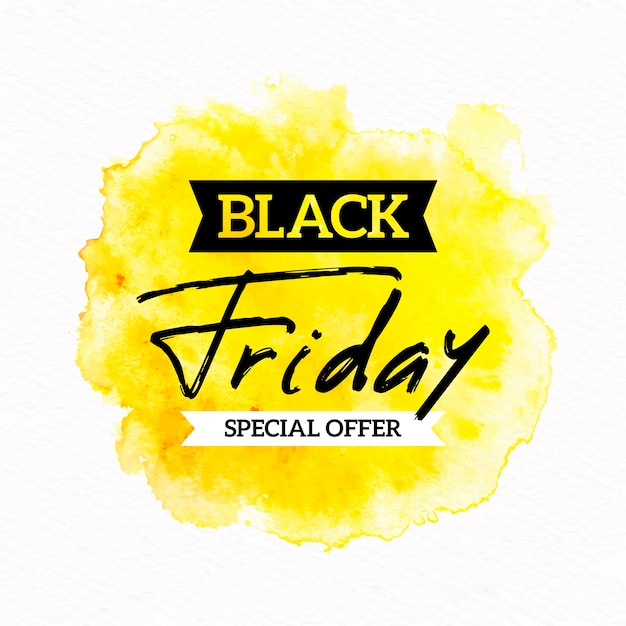 Watercolor stain black friday special offer banner Free Vector
