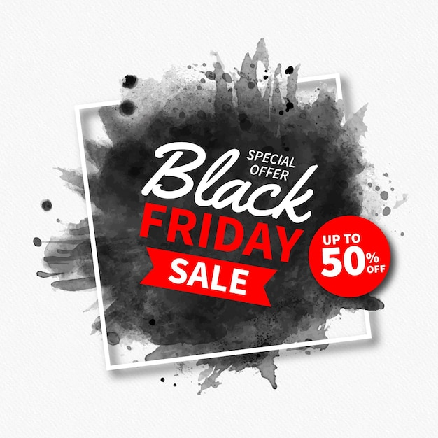 Watercolor stain black friday Premium Vector