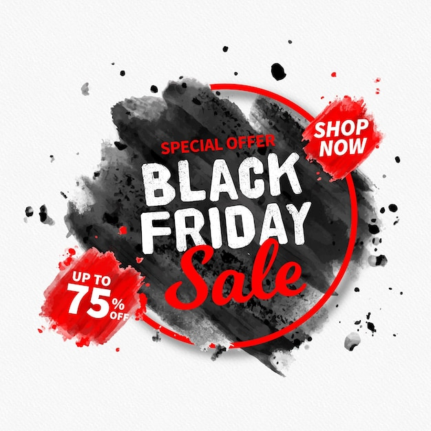Watercolor stain black friday Free Vector