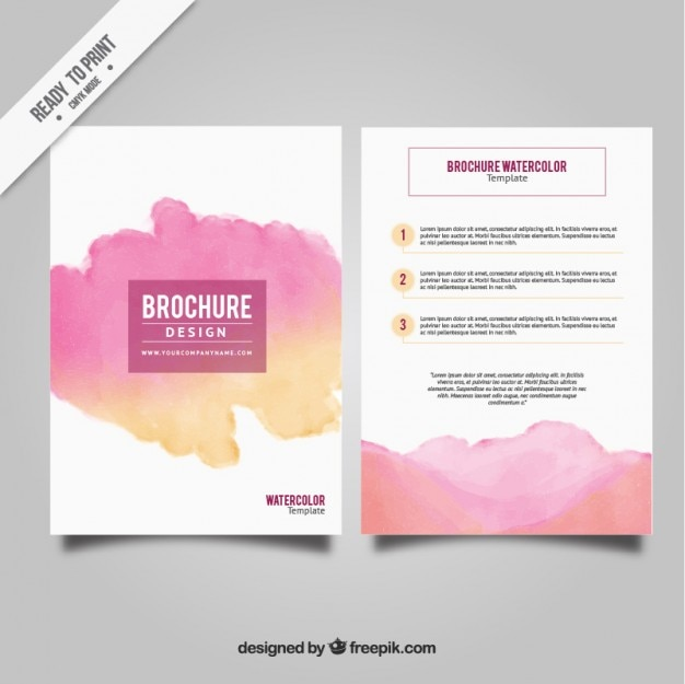 hiv aids brochure templates - watercolor stain brochure template vector free download