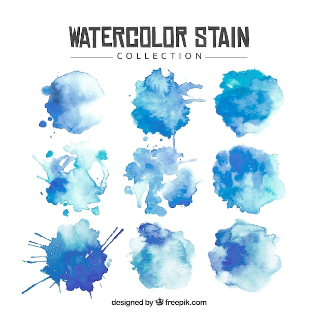 Watercolor stain collection Free Vector