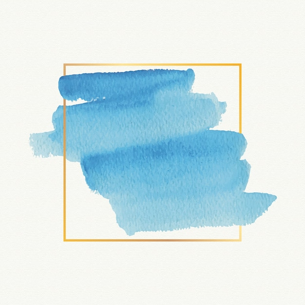 Watercolor stain golden simple frame Free Vector