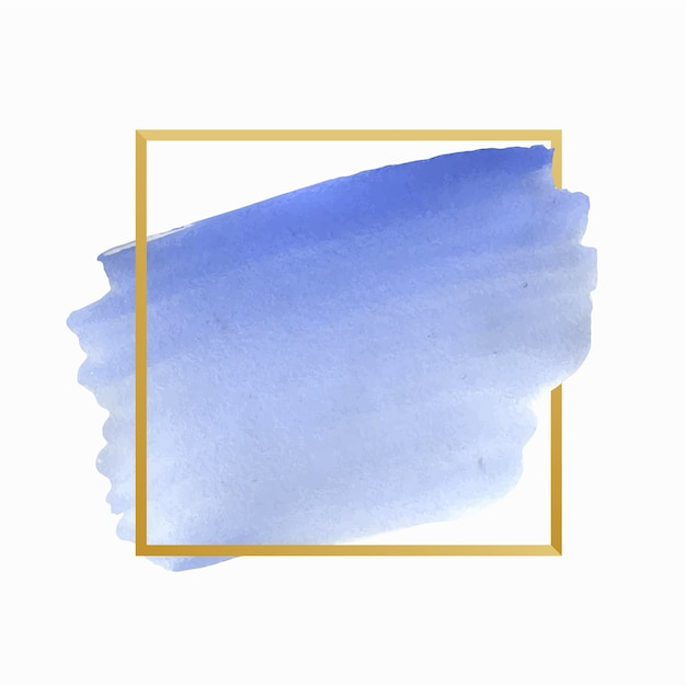 Watercolor stain simple golden frame Free Vector