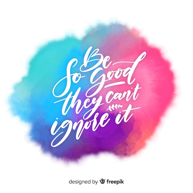 Watercolor stain with calligraphic quote background Free Vector