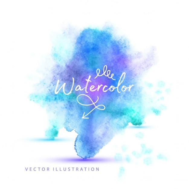 Watercolor stain with cold tones Free Vector