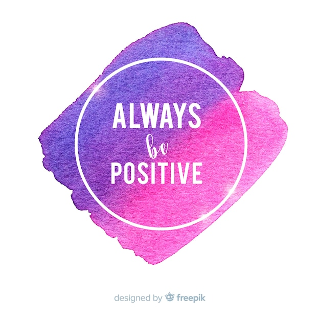 Watercolor stain with motivational quote background Free Vector
