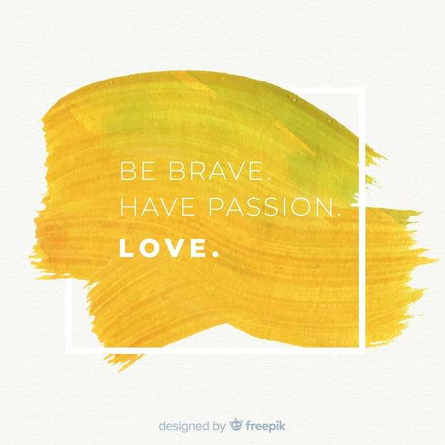 Watercolor stain with motivational quote Free Vector