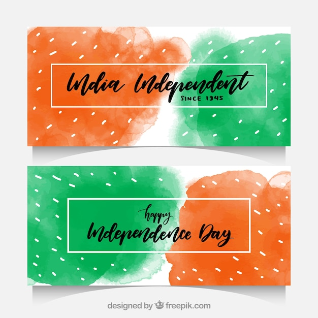 Watercolor stains banners of india independence day