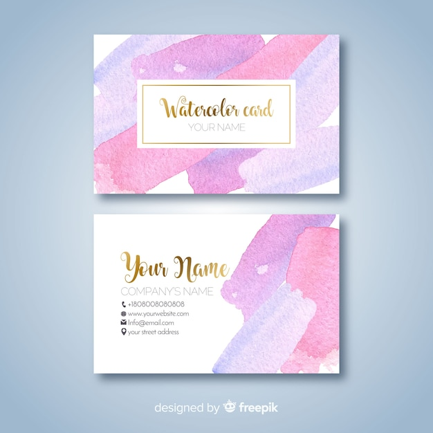 Watercolor stains business card template Free Vector