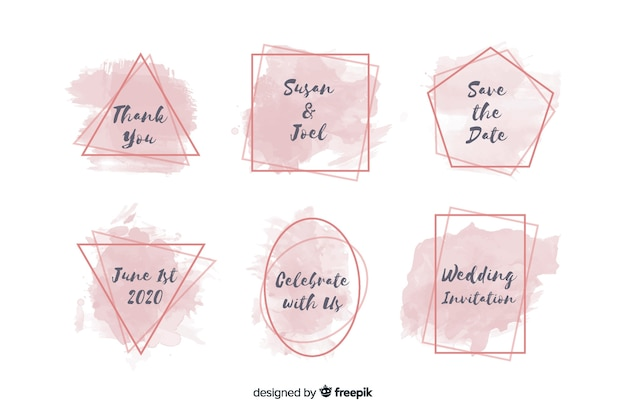 Watercolor stains wedding badge collection Free Vector