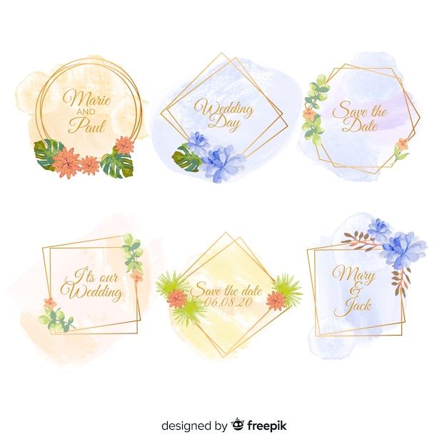 Acquerello macchie collezione di badge matrimonio Vettore gratuito