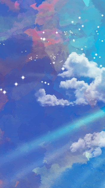 Watercolor starry sky mobile background Free Vector