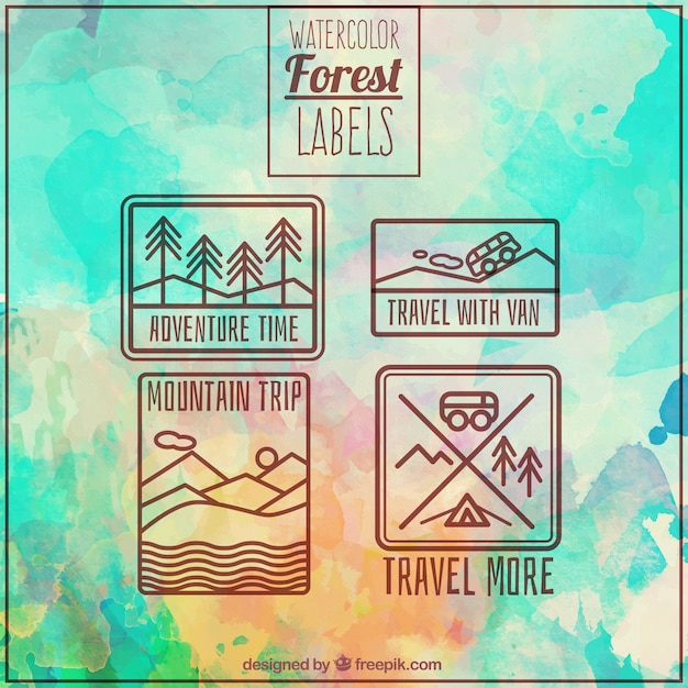 Watercolor stickers of adventure in the\ forest