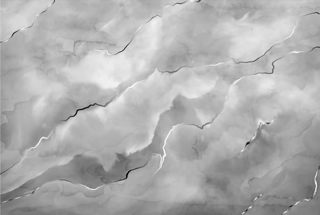 Акварель камень серый мрамор с серебряными штрихами Бесплатные векторы
