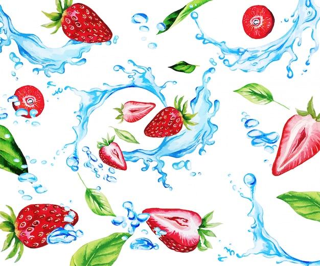 水彩のイチゴと水の飛散の中で葉 Premiumベクター