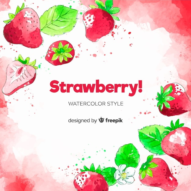 Watercolor strawberries background Free Vector