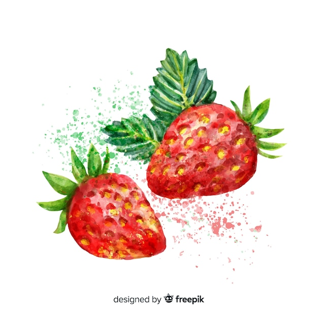 Watercolor strawberry background Free Vector