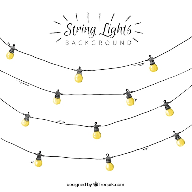 Watercolor string lights background Vector Free Download